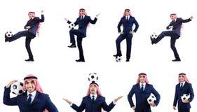 O homem de negócios árabe com futebol Fotos de Stock Royalty Free