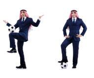 O homem de negócios árabe com futebol Imagem de Stock