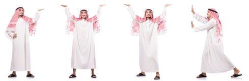 O homem de negócios árabe isolado no branco Fotografia de Stock