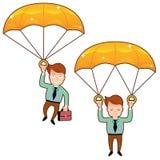 O homem de sorriso cai em um paraquedas dourado com pasta Imagem de Stock Royalty Free