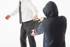 O homem desconhecido leva embora a pasta de um homem de negócios Foto de Stock