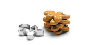O homem deu forma a cookies do pão-de-espécie e a cortador, fundo isolado, branco imagem de stock