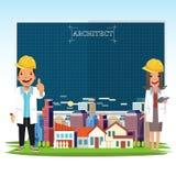 O homem do arquiteto e as mulheres e a cidade ajardinam com um pape do modelo ilustração stock
