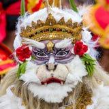 O homem do Balinese vestiu-se na máscara de Hanuman para a cerimônia da rua em Gianyar, ilha Bali, Indonésia Fotografia de Stock Royalty Free