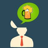 O homem do ícone pensa sobre a cerveja em sexta-feira Fotos de Stock Royalty Free