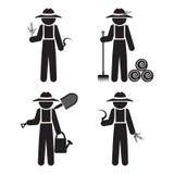 O homem do fazendeiro com ferramenta, ajustou o vetor Imagens de Stock Royalty Free
