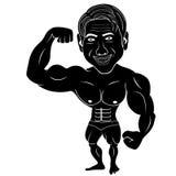 O homem do halterofilista mostra seu corpo ilustração do vetor