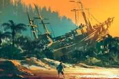 O homem do naufrágio que está na praia da ilha com o barco abandonado no por do sol ilustração royalty free