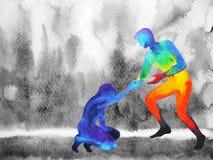 O homem do poder dá a ajuda da mão o homem triste, universo do amor poderoso ilustração stock