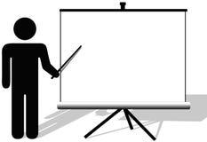 O homem do símbolo aponta a apresentação ou o filme portátil ilustração royalty free