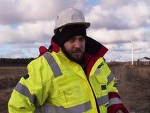 O homem do trabalhador da construção é cansado do trabalho Conceito da construção Trabalho primeiro da segurança Imagem de Stock Royalty Free