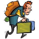 O homem dos desenhos animados é infeliz com viagem ilustração do vetor