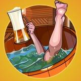 O homem dos desenhos animados com uma cerveja mergulha à disposição no banho Imagens de Stock