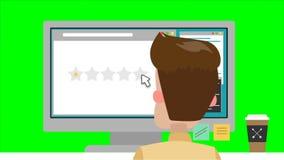 O homem dos desenhos animados dá a avaliação da estrela do favi usando o computador ilustração stock