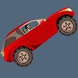 O homem dos desenhos animados em SUV vermelho conduz acima Foto de Stock Royalty Free