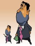 O homem dos desenhos animados em um terno com um dobrador em sua posição da mão reflete e olha acima Fotografia de Stock Royalty Free