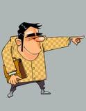 O homem dos desenhos animados em um terno com um portfólio mostra sua mão para Foto de Stock Royalty Free