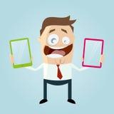 O homem dos desenhos animados está comparando telefones celulares Imagens de Stock