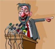 O homem dos desenhos animados no terno emocional diz no microfone Fotografia de Stock Royalty Free