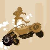 O homem dos desenhos animados voa fora do salto de SUV do carro Imagem de Stock