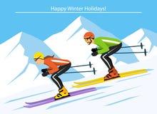 O homem e a mulher acoplam o esqui para baixo em montanhas rochosas Foto de Stock