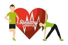 O homem e a mulher da frequência cardíaca ostentam o estilo de vida saudável da atividade ilustração stock