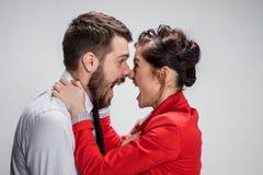 O homem e a mulher de negócio que opõem em um fundo cinzento Imagens de Stock
