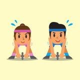 O homem e a mulher do esporte dos desenhos animados que fazem o ab rodam o exercício do desenrolamento Fotografia de Stock