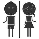 O homem e a mulher entregam acima do sinal do toalete Foto de Stock Royalty Free
