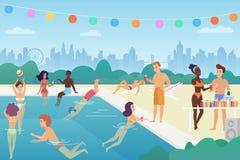 O homem e a mulher felizes estão nadando na associação, falar, jogando com bola, apreciam o tempo, tendo o divertimento na associ ilustração do vetor