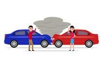 O homem e a mulher ficam irritado e juram dentro o acidente de trânsito Imagens de Stock