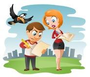 O homem e a mulher preenchem o formulário ilustração stock