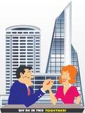 O homem e a mulher são trabalhos de equipa Imagem de Stock Royalty Free