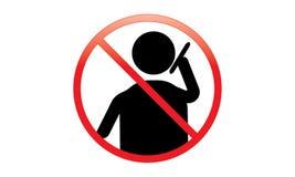 O homem e o telefone - fora do sinal móvel - desligam o ícone do telefone - nenhum símbolo de advertência móvel permitido telefon ilustração royalty free