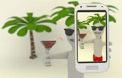 O homem em férias toma um selfie Foto de Stock