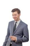 O homem em um laço é de sorriso e apontando seu dedo Fotografia de Stock