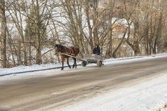 O homem em um passeio do vagão puxou pelo cavalo de esboço imagens de stock