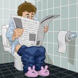O homem em um toalete Fotos de Stock Royalty Free