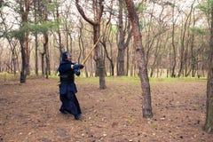 O homem em uma armadura tradicional está praticando artes marciais, kendo Imagem de Stock Royalty Free
