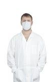 O homem em uma limpeza médica fotos de stock royalty free