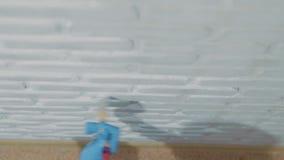 O homem encaracolado engraçado veste calças com atos dos suspensórios como dançar a valsa quando pintando o celling com rolo da e video estoque