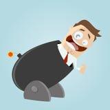 O homem engraçado dos desenhos animados em um cânone grande está pronto para ir Imagem de Stock Royalty Free