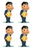 O homem engraçado em um terno guarda a moeda Dólar, euro, iene, sterlin da libra Imagens de Stock Royalty Free