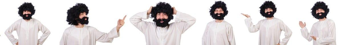 O homem engraçado peludo isolado no branco Fotos de Stock Royalty Free