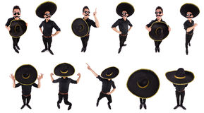 O homem engraçado que veste o chapéu mexicano do sombreiro isolado no branco Fotografia de Stock Royalty Free