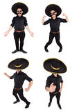 O homem engraçado que veste o chapéu mexicano do sombreiro isolado no branco Fotos de Stock Royalty Free
