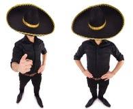 O homem engraçado que veste o chapéu mexicano do sombreiro isolado no branco Imagens de Stock Royalty Free