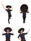 O homem engraçado que veste o chapéu mexicano do sombreiro no branco Fotografia de Stock