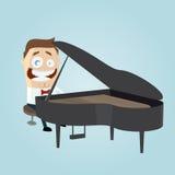 O homem engraçado dos desenhos animados está jogando o piano Imagens de Stock Royalty Free