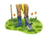 O homem escava a terra no jardim na mola ilustração stock